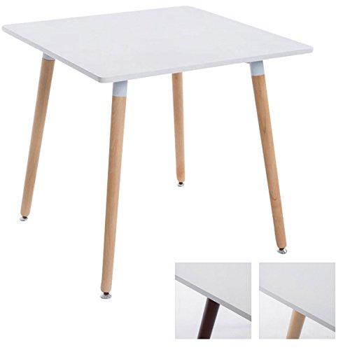 CLP ESS-Tisch BENTE, quadratisch 80 x 80 cm, Höhe 75 cm, 4 Holz-Beine mit Bodenschoner Tischplatte: weiß/Gestell: Natura -