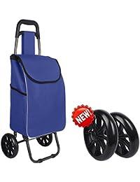 XIN Carrello per la spesa leggero Carrello pieghevole per bagagli pieghevole con ruote Shopper per Go Up e Down Scale 6 ruote, F