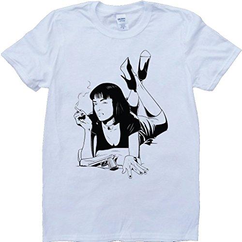 Pulp Fiction Uma Weiß Benutzerdefinierten Gemacht T-Shirt Weiß