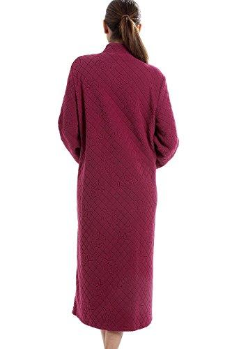 Hausmantel mit Blumenmuster - Lang mit Knopfleiste - Weiches Material - Violett Rot