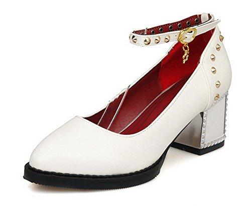 AllhqFashion Damen Eingelegt Pu Leder Mittler Absatz Spitz Zehe Schnalle Pumps Schuhe Weiß