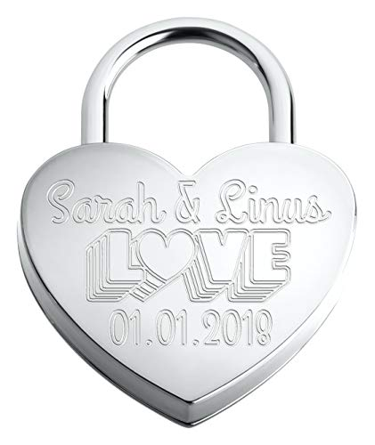 Liebesschloss In Herzform ♥ | Personalisiertes Herzschloss Mit Gravur Auf der Vorderseite Als Liebesgeschenk | Silber