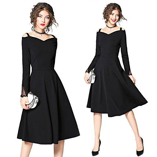 AJOG Frauen Vintage Black Swing Kleid V-Ausschnitt Hohe Taille Langen Ärmeln Party Abend Hochzeit - Lange Kleider Bling Prom