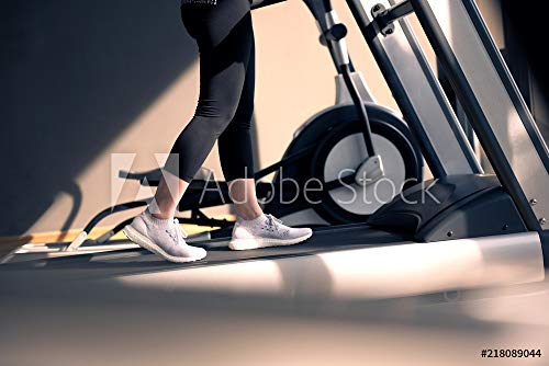 druck-shop24 Wunschmotiv: Woman Running in Machine Treadmill at Fitness Gym at Morning. #218089044 - Bild auf Forex-Platte - 3:2-60 x 40 cm / 40 x 60 cm
