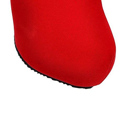 AgooLar Damen Niedrig-Spitze Eingelegt Reißverschluss Hoher Absatz Stiefel mit Schleife Rot