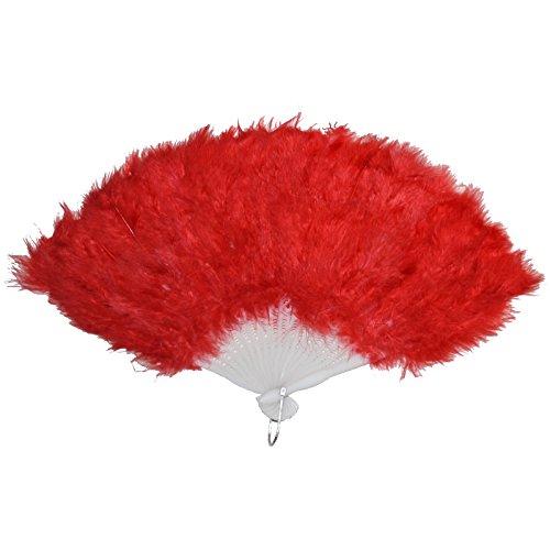 Federn Mit Kostüm Tanz - Federfächer rot mit echten Federn Fächer Tanzfächer Handfächer für Tanz Charleston Kostüme Handfächer Tanzfächer
