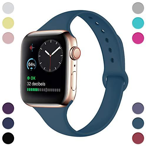 Hamile Armband Kompatibel für Apple Watch 38mm 40mm, Schmales Weiche Silikon Wasserdicht Ersatz Uhrenarmbänder für Apple Watch Series 4, Series 3, Series 2, Series 1 Schiefer Blau -