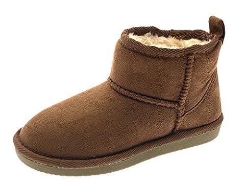 Lora Dora Womens Ladies Girls Kids Childrens Short Ankle Faux Fur Sheepskin Suede Classic Mini Snugg Boots Shoes Chestnut Size UK 12
