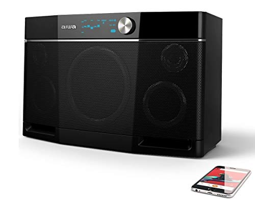 Aiwa Exos-9 Bluetooth Lautsprecher, 200 Watt Outdoor Boombox 6.5'' Subwoofer, Kabellose Lautsprecher, Stereo Sound, Verzerrungsfreie Laute Musik, 9 Stunden Spielzeit Schwarz