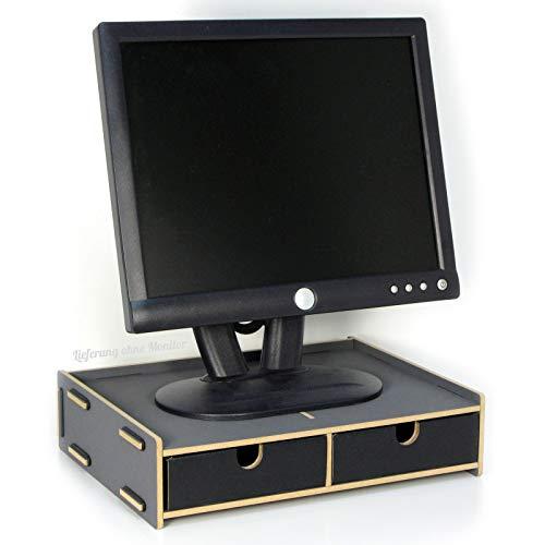 Monitor-Sockel - Dunkelgrau | Bildschirmständer | mit 2 Schubladen | Notebooktisch | Monitorständer | Schreibtischaufsatz | Bildschirmerhöhung | Preis am Stiel® (Schreibtisch-monitor-sockel)