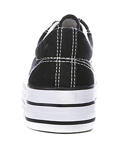 Aisun Damen Klassisch Canvas Sneaker Schnürsenkel Flat Sportlich Halbschuhe Schwarz