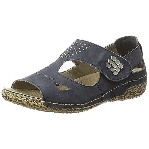 Rieker Damen V7264 Offene Sandalen mit Keilabsatz, Blau (Ozean/14), 40 EU