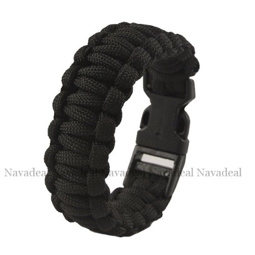 nava-new-black-strong-parachute-rope-5-cord-military-survival-bracelet-w-clasp-buckle