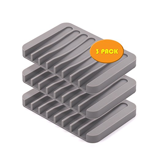 Rachel's Choice Silicone Soap Dish Holder Soap Lift Tray for Shower/Bathroom/Kitchen Grey Pack of 3