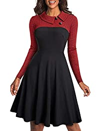 Dearlove Womens Buttons Vintage 1950s Turn-Down Collar Pinup A-Line Party Flare Swing Dress S-XL