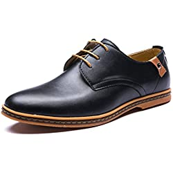 Minetom Hombres Estilo Británico Comodidad Cuero de Boda con Cordones de Zapatos Planos de Vestir de Negocios Oxfords Negro EU 42