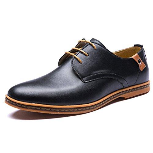 Minetom Neu Cool Herren Casual Britisch Stil Gummisohle Stiefel Business Schuhe Leder Oxfords Plus Größen Schnürhalbschuhe Schwarz EU 47 (Größe Anzüge Kleider Plus)