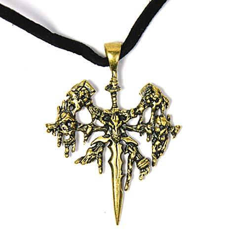 Sky Kette mit Messing Wappen Allianz, Hord, oder Untote WoW Anhänger (Untote)