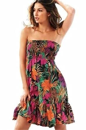 Tamari Robe de plage multicolore tropicale sans bretelles pour femme Taille unique 36-40