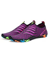 DoGeek Scarpe da Nuoto Water Shoes Scarpe per Sport Acquatici Scarpe Nero Giardini Acqua Scarpe Uomo da Pantofole Spiaggia Pelle Sandali,Viola,37