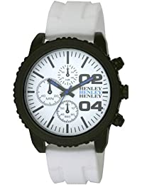 Henley H02056.4 - Reloj analógico para caballero de silicona blanco