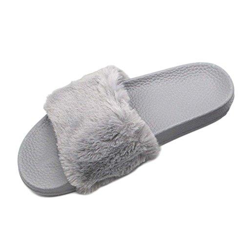 Minetom Inverno Unisex Morbido Caldo Peluche Casa Pantofole Cartone Zampa Dellorso Antiscivolo Pattini Donna Uomo Scarpe Slippers F- Grigio