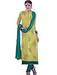 Balaji Women's Georgette Dress Material (ElisYe009_Free Size_Yellow)