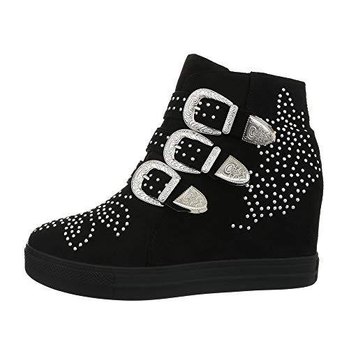 0c57bda5825a4 Ital-Design Damenschuhe Freizeitschuhe Sneakers high Synthetik Schwarz Gr.  38
