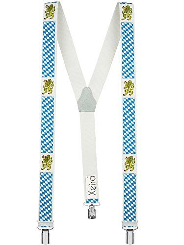 Hochwertige Hosenträger in Trendigen Motiven mit stabilen Clips und Echt Leder - Made in Germany (Noramle Größe, Bayern)