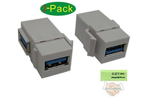 CGTime USB 3.0 Keystone-Steckereinsätze, 90 Grad rechtwinklig, USB 3.0 Adapter, weiblich auf weiblich, für Wandplatte, Steckdose, Weiß -