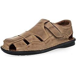 KS - 02 - Zapatos sandalias para hombre - Ideales para verano - Cuero Caqui 45