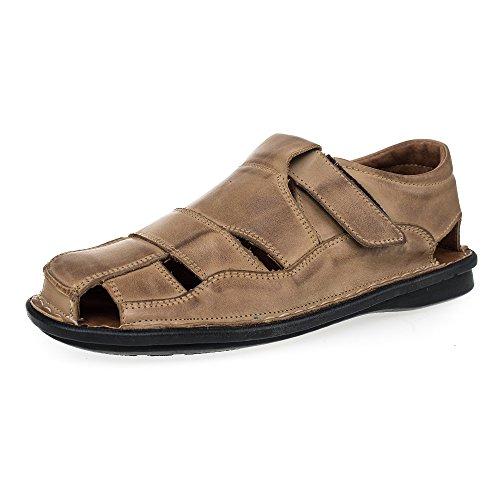 KS® 02 hombres cuero zapato del verano caqui 42