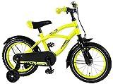 Kinderfahrrad Jungen Yellow Cruiser 14 Zoll mit Vorradbremse am Lenker und Rücktrittbremse, Stützräder Gelb 95% Zusammengebaut