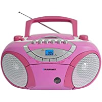 Blaupunkt BB15BL Boombox mit Radio/CD/MP3-Player/Kassettenplayer (mit LCD-Dislay, USB, X-Bass) rosa