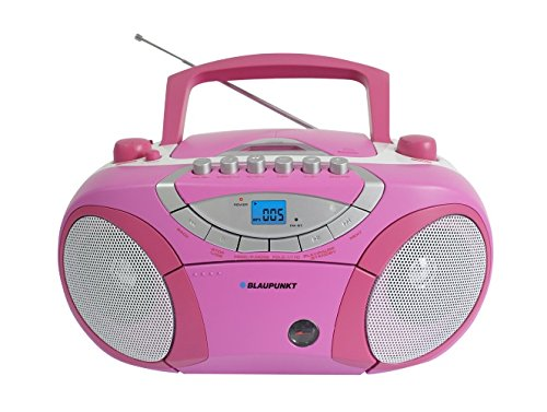 Blaupunkt BB15BL Boombox mit Radio/CD/MP3-Player/Kassettenplayer (mit LCD-Dislay, USB, X-Bass) rosa - Cd-radio Boombox Mp3