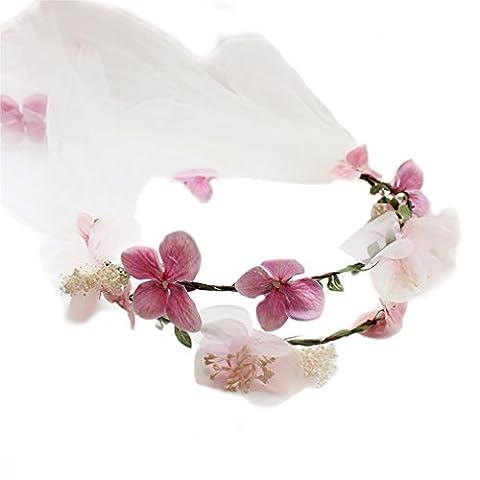 YAZILIND Blumen-Kranz Mori Mädchen Art Rattan Blumenkronen-Girlande-Brautschleier Stirnband für Hochzeits Festivals