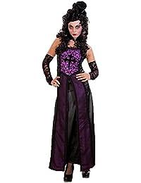 Kleid Gothic, schwarz lila,lang, (36/38) Kostüm Burgdame Mittelalterkleid
