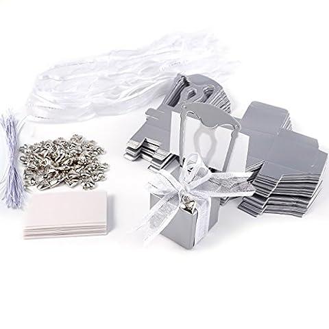 50x Boîte à dragées Chaise + Etiquette marque-place + ruban + coeur argenté