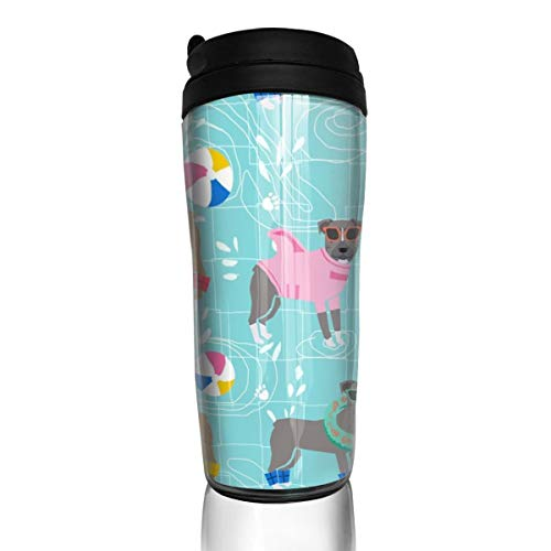 Pitbull 27373 Kaffeetasse, für Pool-Party, Rosa, für Hunderassen, 340 ml, auslaufsicher, mit Klappdeckel, umweltfreundliches Material ABS