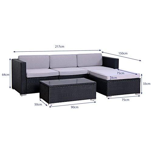 POLY RATTAN Lounge Gartenset SCHWARZ Sofa Garnitur Polyrattan Gartenmöbel Neu - 5