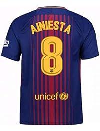 2017-2018 Barcelona Home Football Soccer T-Shirt Camiseta (Andres Iniesta 8)