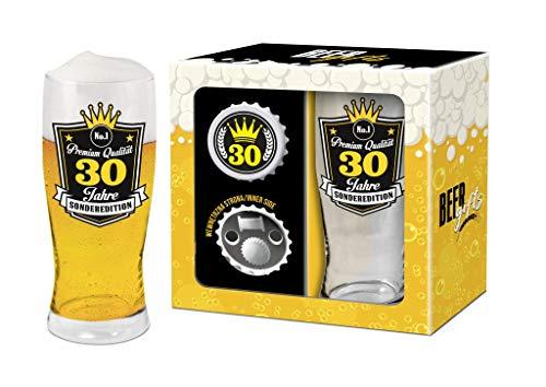 Bierglas 0,5l mit Öffner zum 30 Geburtstag