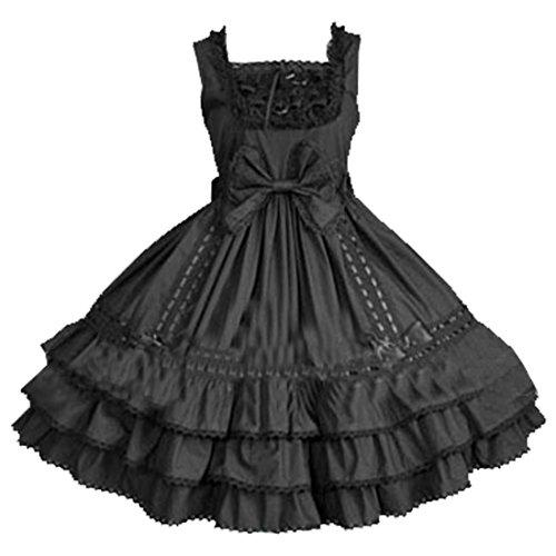Partiss Robe multi-couches et sans manches Avec nœud Gothique Lolita Noir Noir - Noir