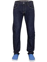 Hommes New Designer Firetrap Jeans Coupe régulière denim Indigo lavage Pantalons