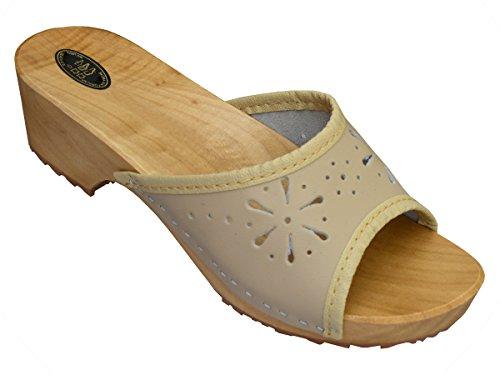BeComfy Damen Clogs Holzschuhe Leder Holz Pantoletten mit Absatz Sandalen Bunte Farben Modell VK10 (40, Beige) - Leder Holz