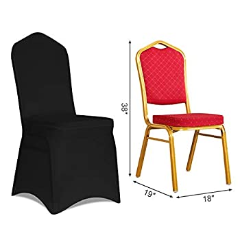 Kapwall Set of 100 PCS Black Color Polyester Spandex Chair Cover for Wedding Party Dining Banquet Decoration Covers…