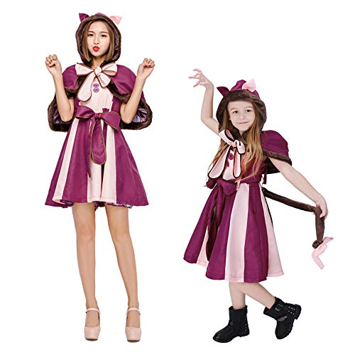 Halloween Kostüm Damen Anime Accessoires Karneval Fasching Alice Im Wunderland Erwachsene Kinder Eltern-Kind-Kleidung,Lila,AdultM (Alice Im Wunderland Hunde Kostüm)