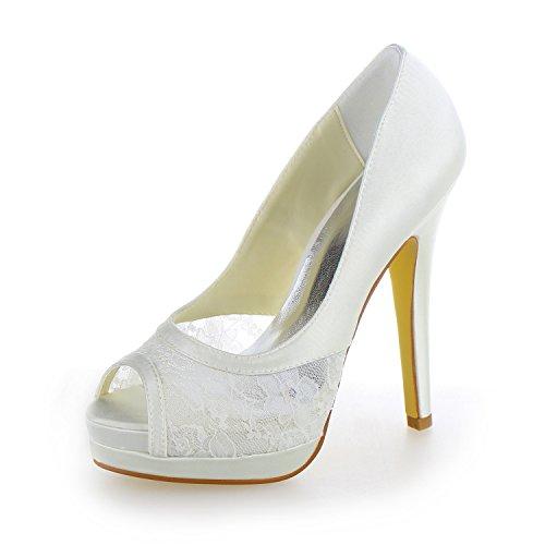 JIA JIA Scarpe da Sposa da Donna 40919 Peep Toe Stiletto Tacco Pizzo Raso Piattaforma Pompe Scarpe da Sposa Bianco