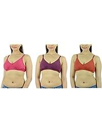 Ishita Fashions Women's Cotton Bra (Pink, Purple, Red) - 3 PCs Combo