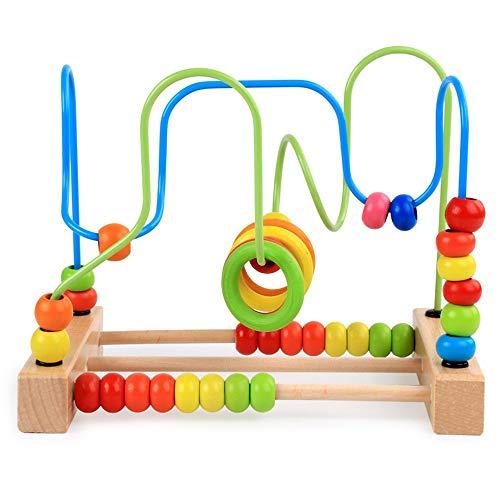 Kollektives Partyspiel Perle Labyrinth Holzspielzeug Bunte Abacus Kreis Werkzeug Achterbahn Aktivität Lernspiel Vorschule Pädagogisches Spielzeug für Kinder Jungen Mädchen Kleinkinder Geeignet für jed